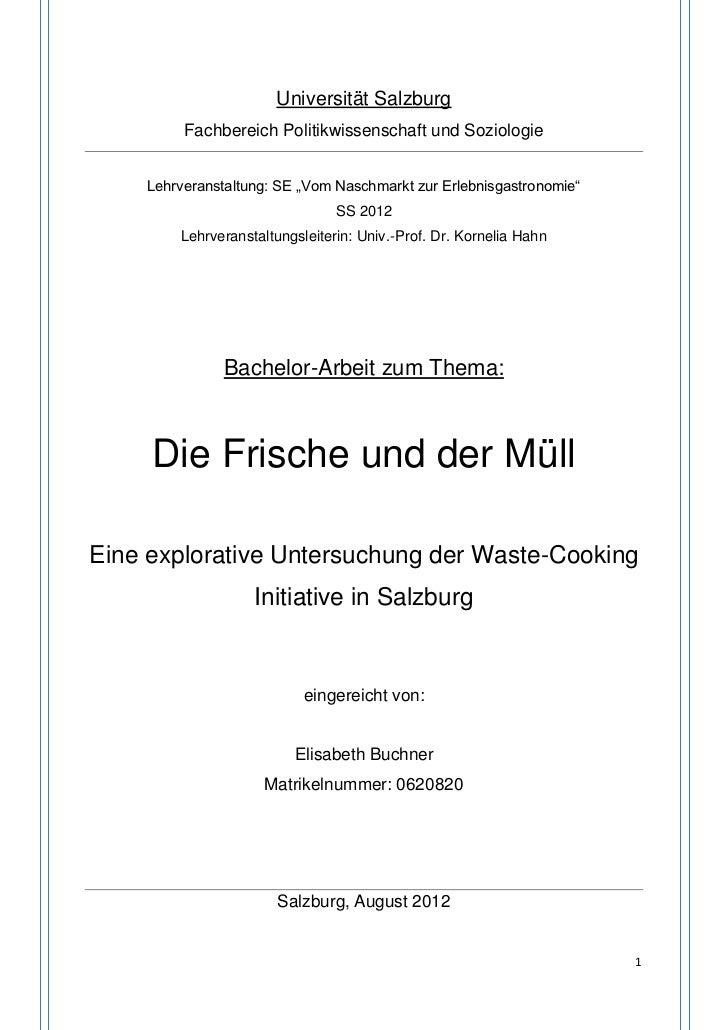 """Universität Salzburg         Fachbereich Politikwissenschaft und Soziologie    Lehrveranstaltung: SE """"Vom Naschmarkt zur E..."""