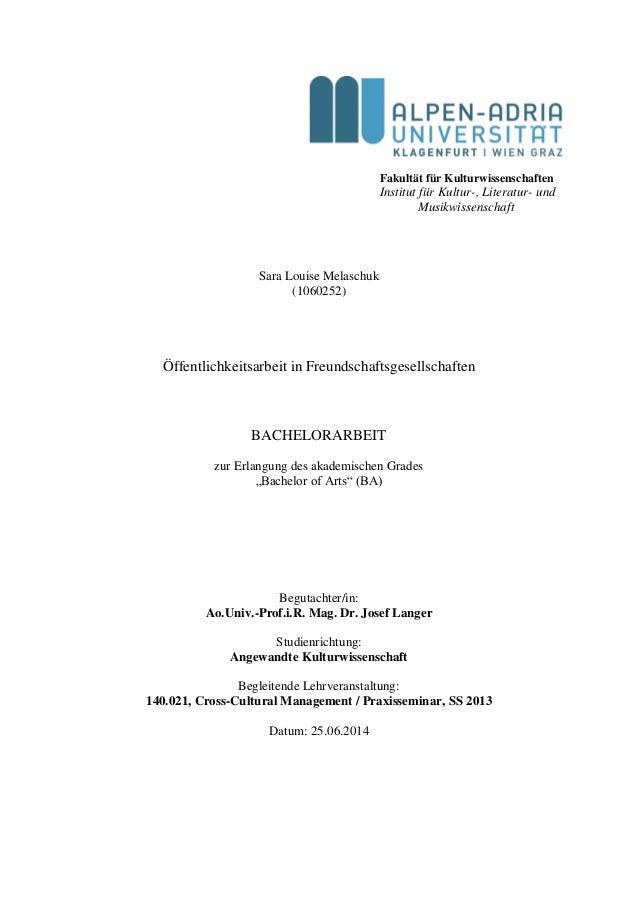 Fakultät für Kulturwissenschaften Institut für Kultur-, Literatur- und Musikwissenschaft Sara Louise Melaschuk (1060252) Ö...