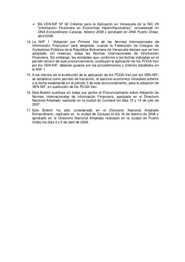 """BA VEN-NIF Nº 02 Criterios para la Aplicación en Venezuela de la NIC 29 """"Información Financiera en Economías Hiperinflacio..."""