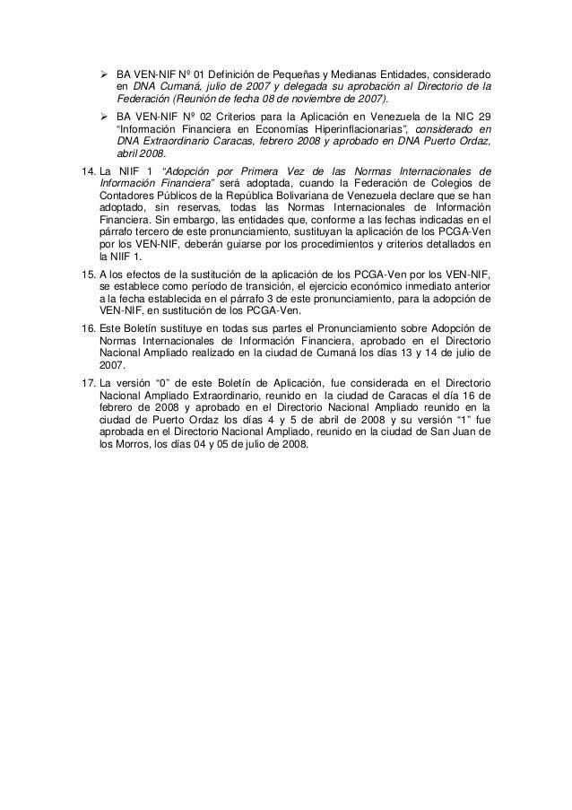 BA VEN-NIF Nº 01 Definición de Pequeñas y Medianas Entidades, considerado en DNA Cumaná, julio de 2007 y delegada su aprob...