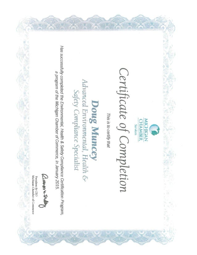 Muncey EHS DOT Certifications