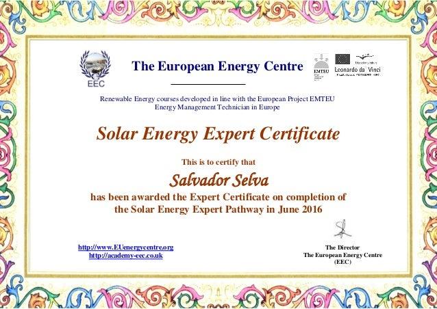 Solar Energy Expert Certificate