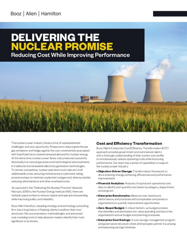 DELIVERING THE NUCLEAR PROMISE Reducing Cost While Improving Performance The nuclear power industry faces a time of unprec...