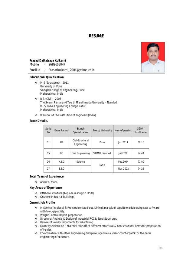 1//4 RESUME Prasad Dattatraya Kulkarni Mobile :  9689608047 Email Id ...
