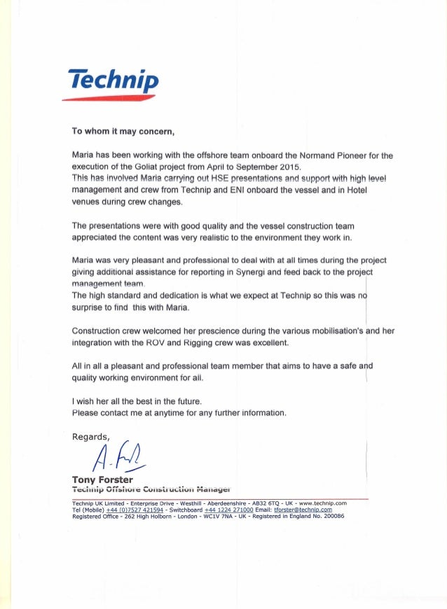 Letter of recomendation from OCM