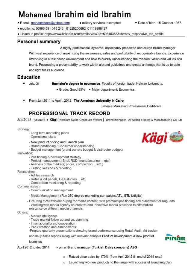 resume brand manager marketing