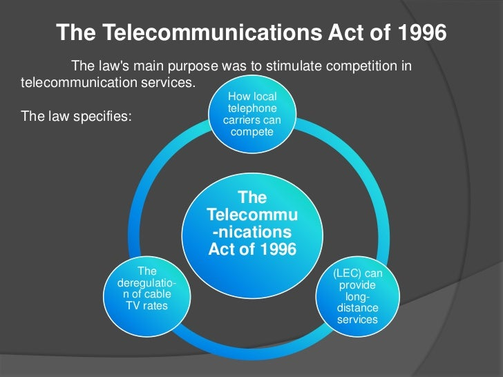 an examination of the telecommunications act of 1996 The telecommunications act of 1996 is the first major overhaul of telecommunications law in almost 62 years the goal of this new law is to let anyone enter any communications business -- to let any communications business compete in any market against any other.
