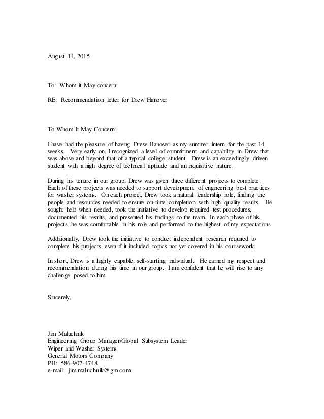 Drew Hanover Letter Of Recommendation