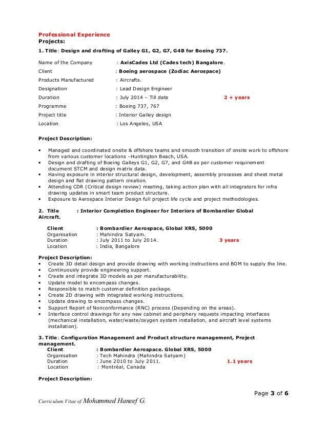 professional experience - Boeing Aerospace Engineer Sample Resume