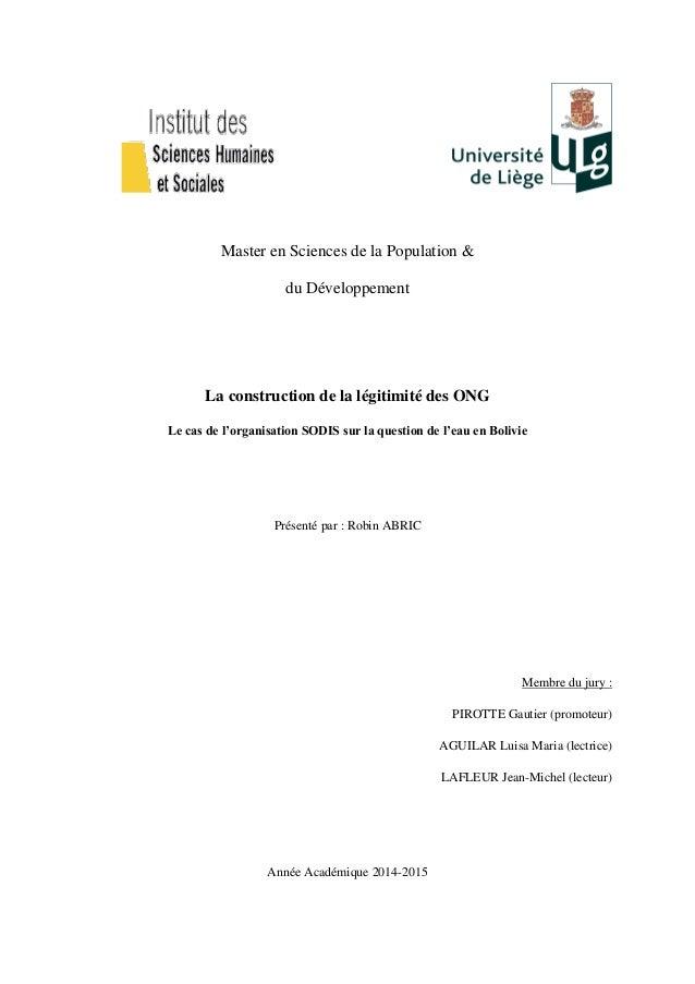 Master en Sciences de la Population & du Développement La construction de la légitimité des ONG Le cas de l'organisation S...