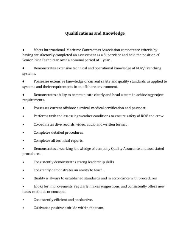 Rov Supervisor Job Description