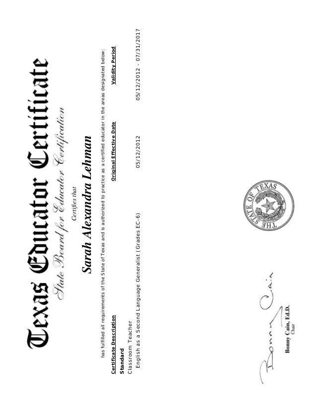 Texas Educator Certificate Official