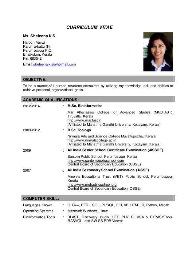 Curriculum Vitae Shefeena K S