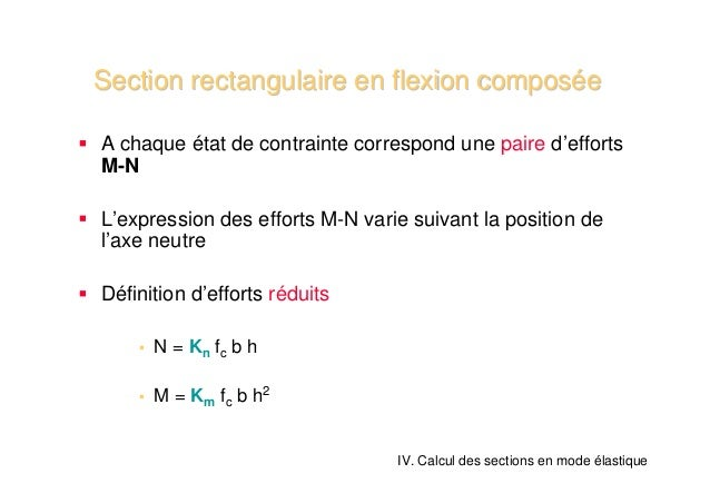 Section rectangulaire en flexion composéeSection rectangulaire en flexion composée IV. Calcul des sections en mode élastiq...