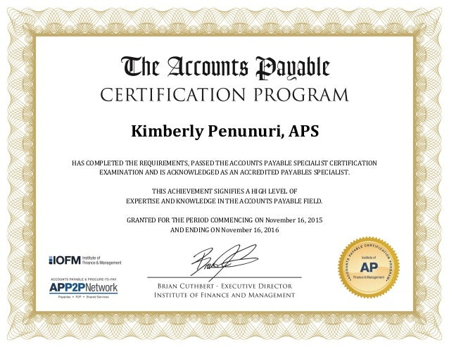 APS Certification 2015