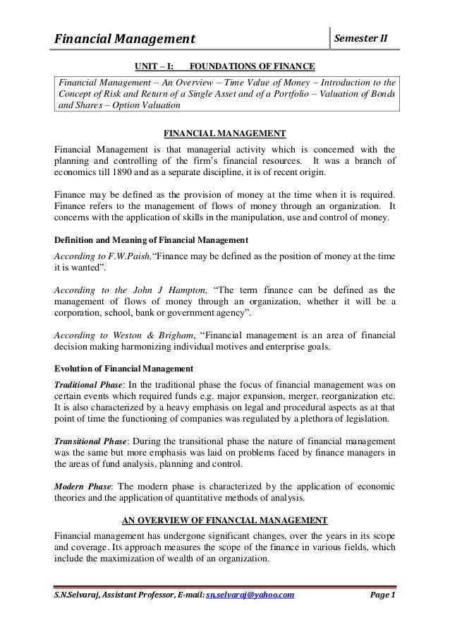 financial management note Chapter 1 -- an overview of financial management what is finance: cash flows between capital markets and firm's operations the goal of a firm forms of business organization intrinsic value and market price of a stock  chapter 1 -- an introduction to financial management.