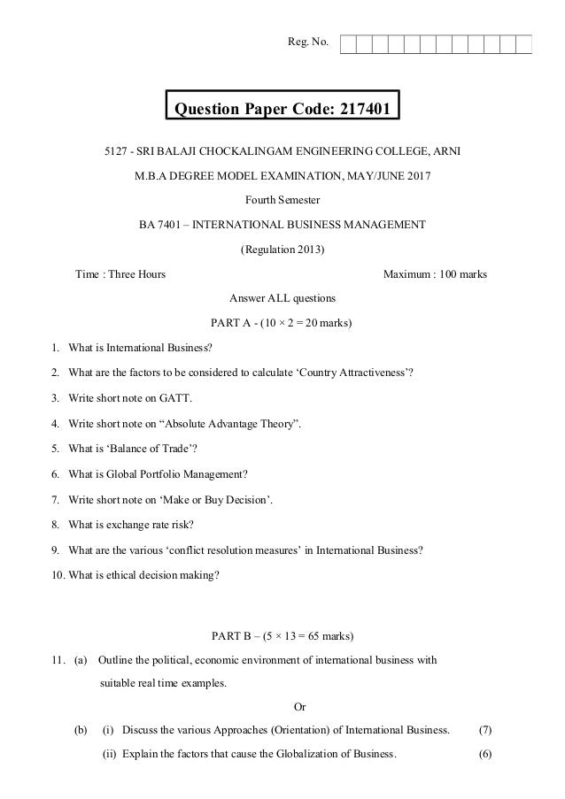 ba international business management model exam question paper question paper code 217401 5127 sri balaji chockalingam engineering college