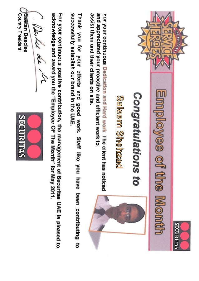 staff of the month certificate