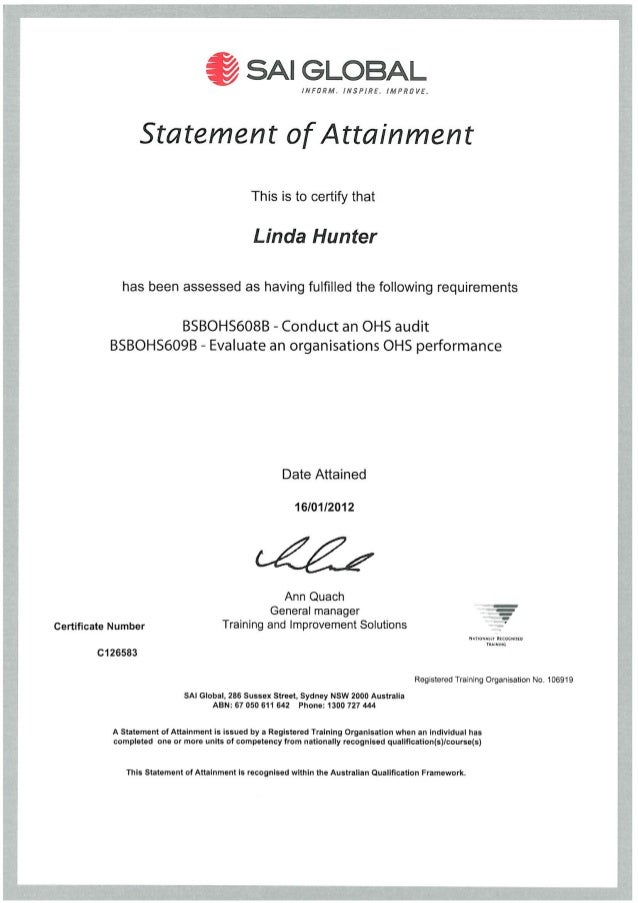 HUNTER, Linda - Lead Auditor course