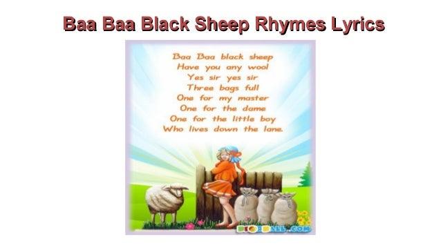 Baa Baa Black Sheep Rhyme Song With Lyrics