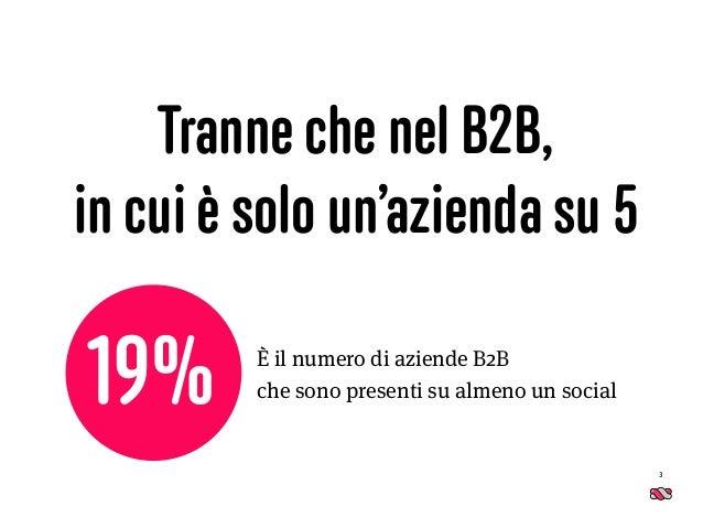 Tranne che nel B2B, in cui è solo un'azienda su 5 3 È il numero di aziende B2B  che sono presenti su almeno un social19%