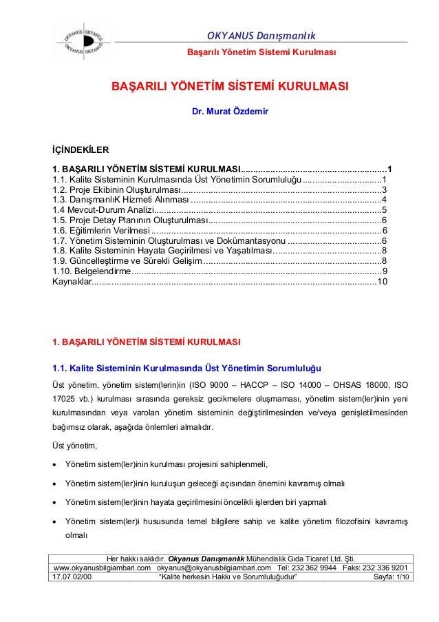OKYANUS Danışmanlık                                                 Başarılı Yönetim Sistemi Kurulması                    ...