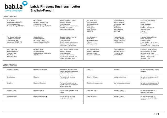 Phrases  Business Letter English  French