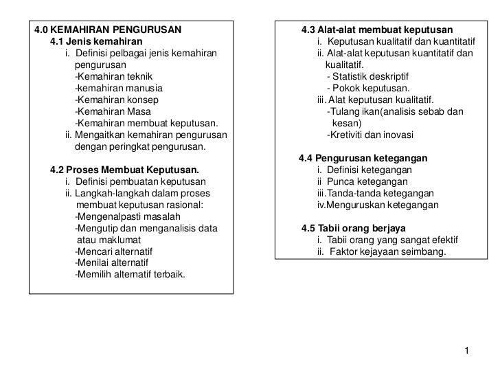 4.0 KEMAHIRAN PENGURUSAN                       4.3 Alat-alat membuat keputusan    4.1 Jenis kemahiran                     ...
