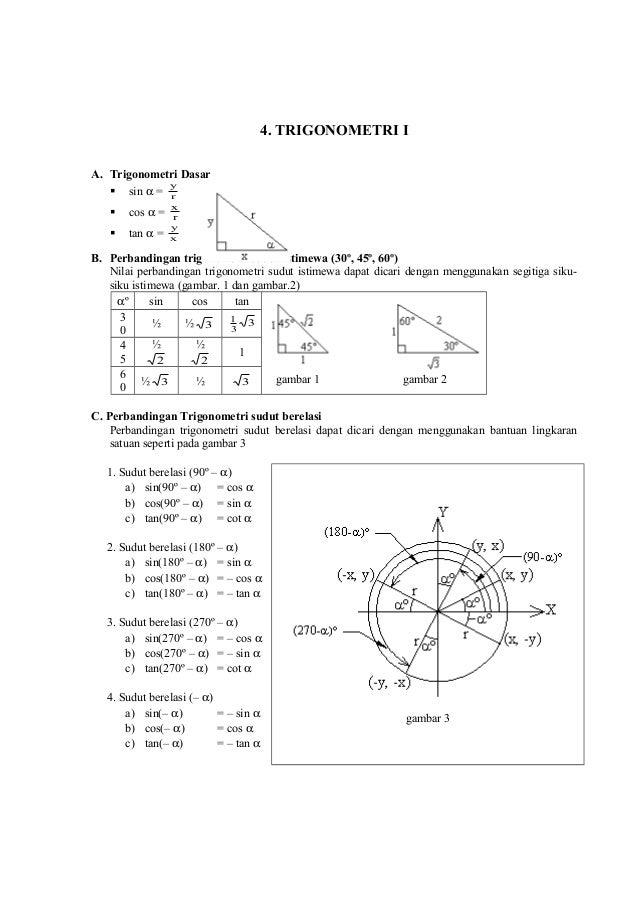 4. TRIGONOMETRI I A. Trigonometri Dasar y  sin α = r   cos α =  x r    tan α =  y x  B. Perbandingan trigonometri sudut...