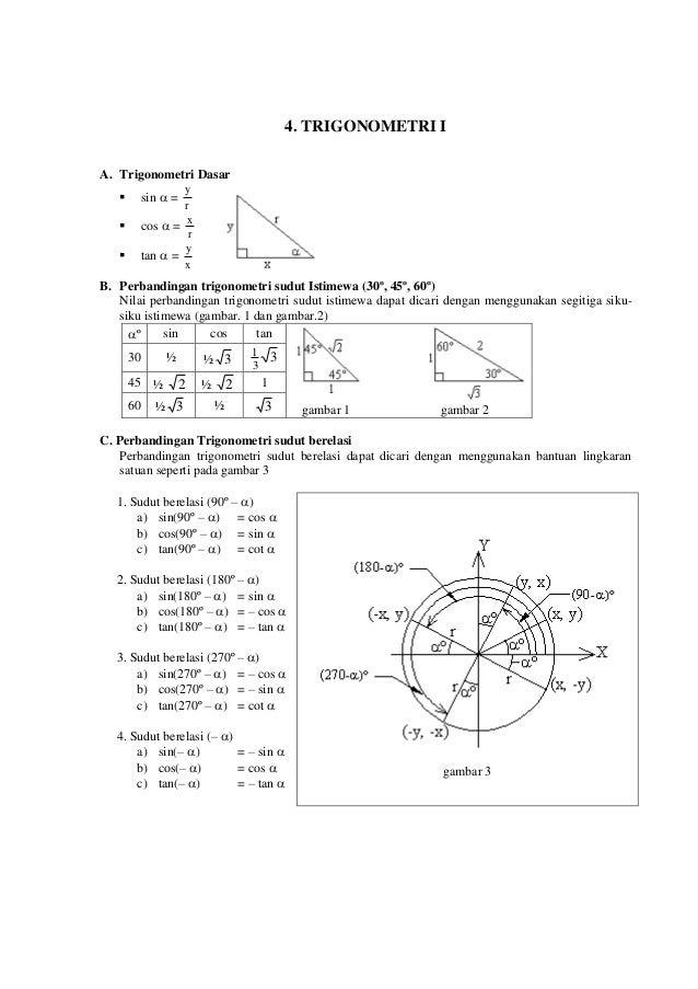 4. TRIGONOMETRI I A. Trigonometri Dasar  sin  = r y  cos  = r x  tan  = x y B. Perbandingan trigonometri sudut Istim...