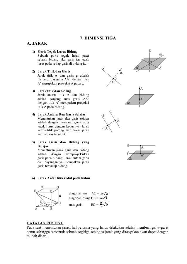 7. DIMENSI TIGA A. JARAK 1) Garis Tegak Lurus Bidang Sebuah garis tegak lurus pada sebuah bidang jika garis itu tegak luru...
