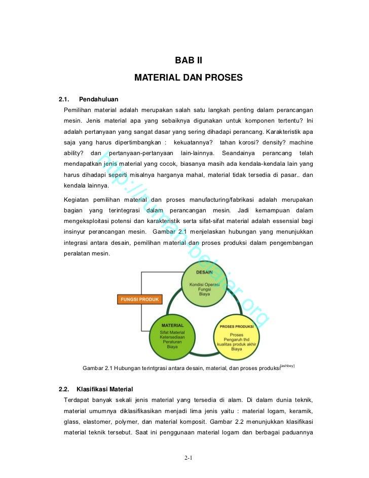 BAB II                              MATERIAL DAN PROSES2.1.   Pendahuluan Pemilihan material adalah merupakan salah satu l...