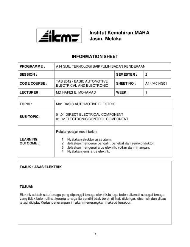 Institut Kemahiran MARA                                               Jasin, Melaka                                   INFO...