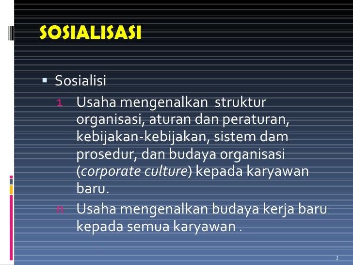 SOSIALISASI <ul><li>Sosialisi  </li></ul><ul><ul><li>Usaha mengenalkan  struktur organisasi, aturan dan peraturan, kebijak...