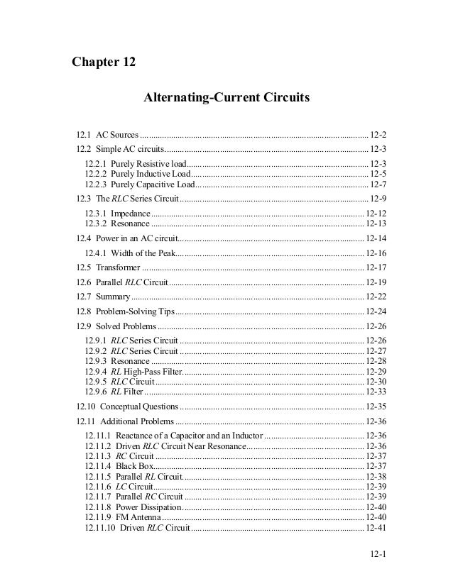 Chapter 12 Alternating-Current Circuits 12.1 AC Sources .....................................................................