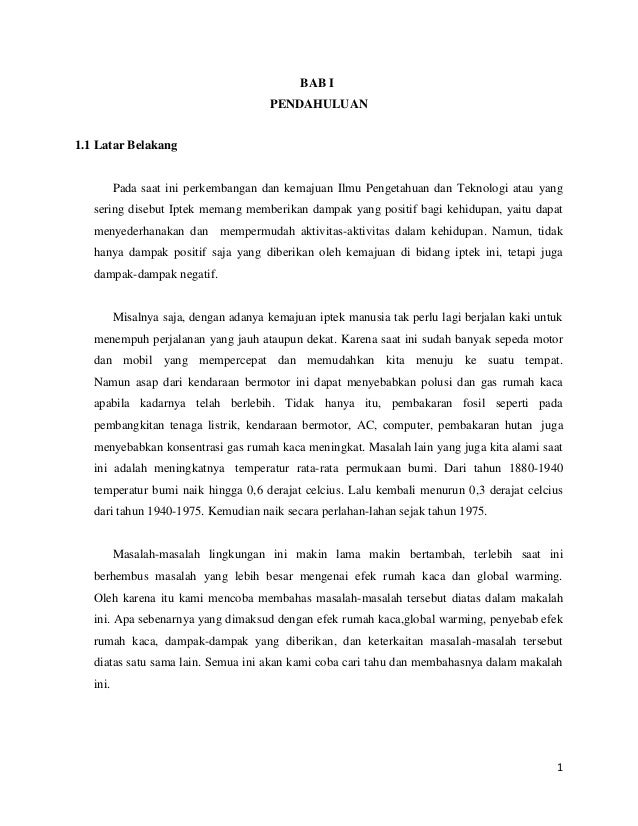 Efek Rumah Kaca Bab 1 2 3