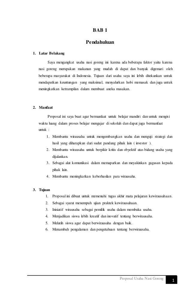 Proposal Usaha Nasi Goreng Satria Dipa Nusantara Tugas Kewirausah