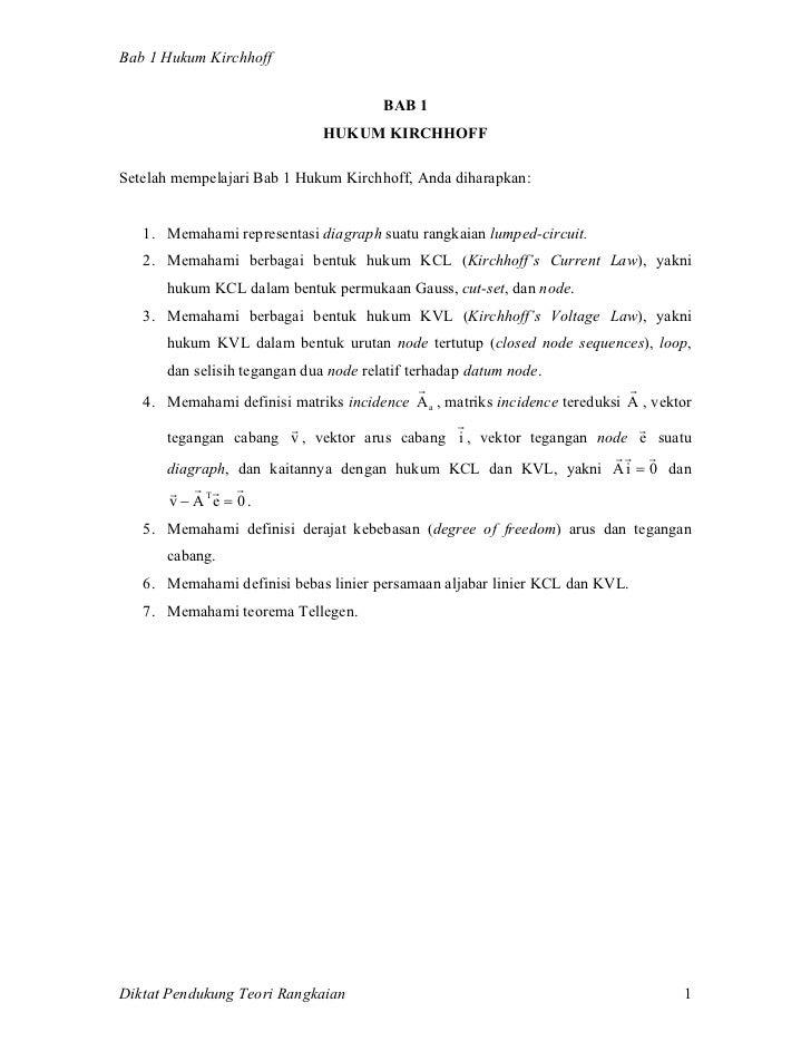 Bab 1 Hukum Kirchhoff                                       BAB 1                              HUKUM KIRCHHOFFSetelah memp...