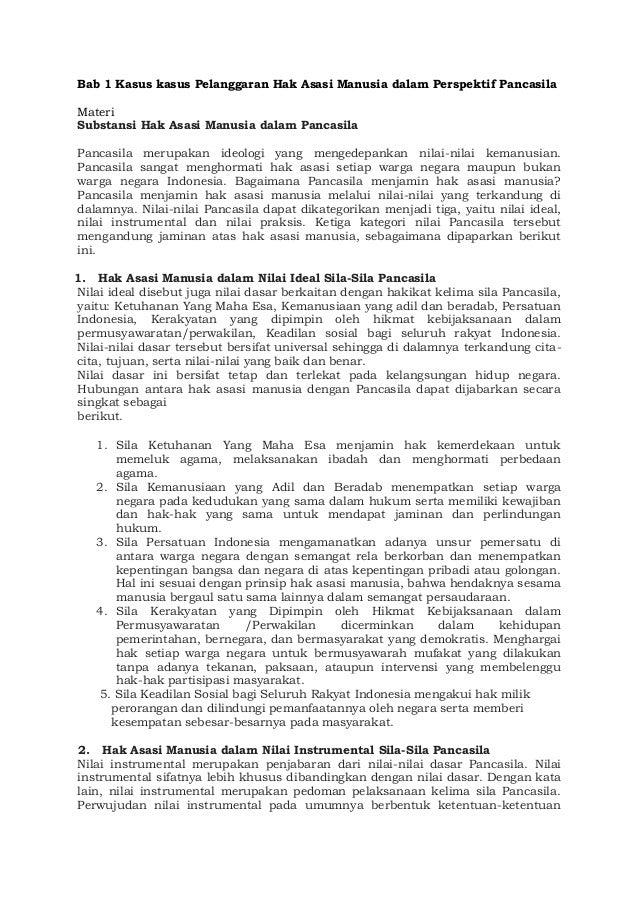 Bab 1 Kasus kasus Pelanggaran Hak Asasi Manusia dalam Perspektif Pancasila Materi Substansi Hak Asasi Manusia dalam Pancas...