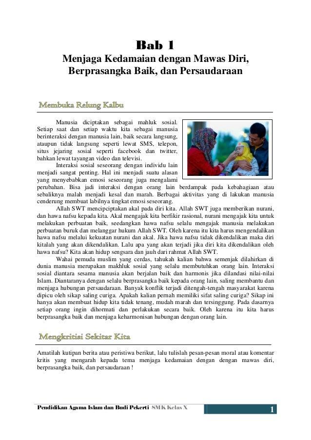 Pendidikan Agama Islam dan Budi Pekerti SMK Kelas X 1 Bab 1 Menjaga Kedamaian dengan Mawas Diri, Berprasangka Baik, dan Pe...