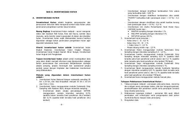 -   Inventarisasi dengan stratifikasi berdasarkan foto udara             BAB II. INVENTARISASI HUTAN                      ...