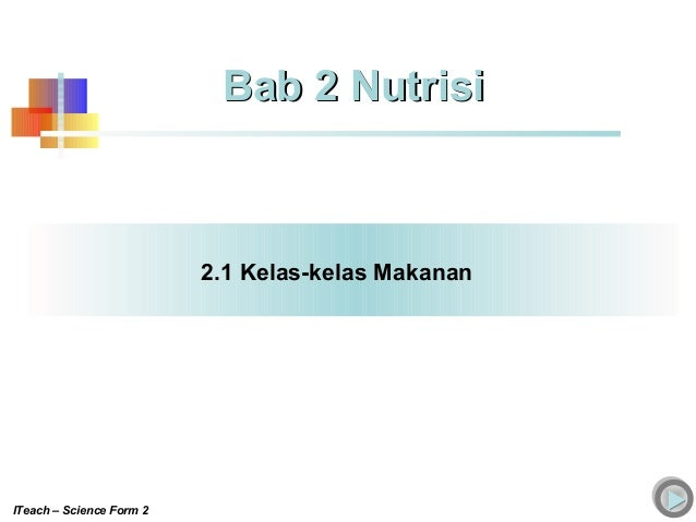 2.1 Kelas-kelas Makanan Bab 2 NutrisiBab 2 Nutrisi ITeach – Science Form 2