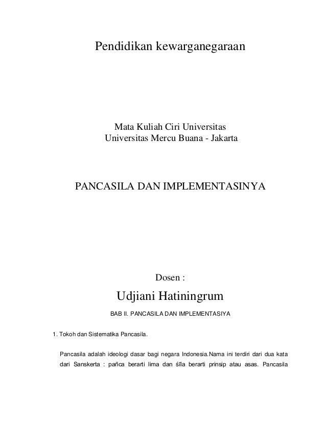 Pendidikan kewarganegaraan                     Mata Kuliah Ciri Universitas                   Universitas Mercu Buana - Ja...