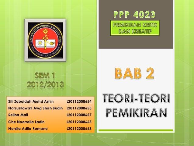 Siti Zubaidah Mohd Amin     L20112008654Norsuzilawati Awg Shah Budin L20112008655Selina Mail                 L20112008657C...