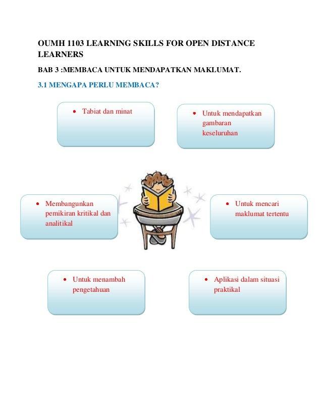 OUMH 1103 LEARNING SKILLS FOR OPEN DISTANCELEARNERSBAB 3 :MEMBACA UNTUK MENDAPATKAN MAKLUMAT.3.1 MENGAPA PERLU MEMBACA?   ...