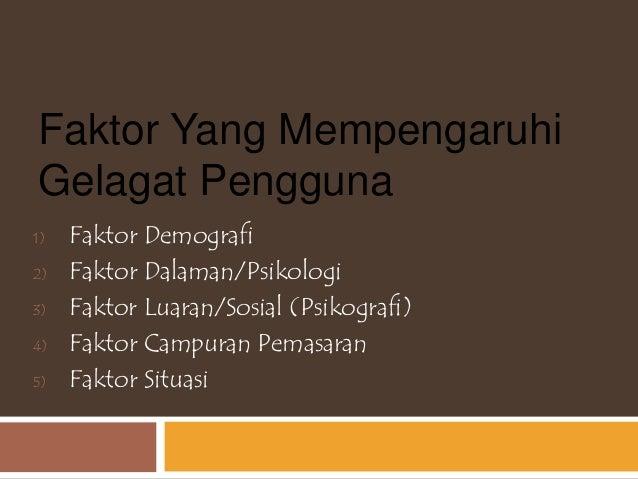 Faktor Yang Mempengaruhi Gelagat Pengguna 1) Faktor Demografi 2) Faktor Dalaman/Psikologi 3) Faktor Luaran/Sosial (Psikogr...