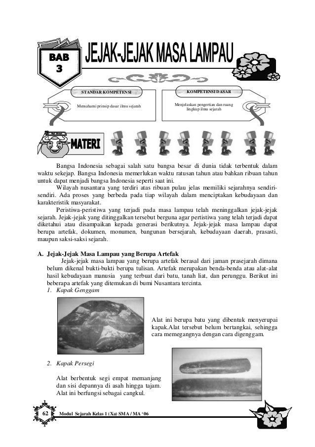 62 Modul Sejarah Kelas 1 (Xa) SMA / MA '06 Bangsa Indonesia sebagai salah satu bangsa besar di dunia tidak terbentuk dalam...