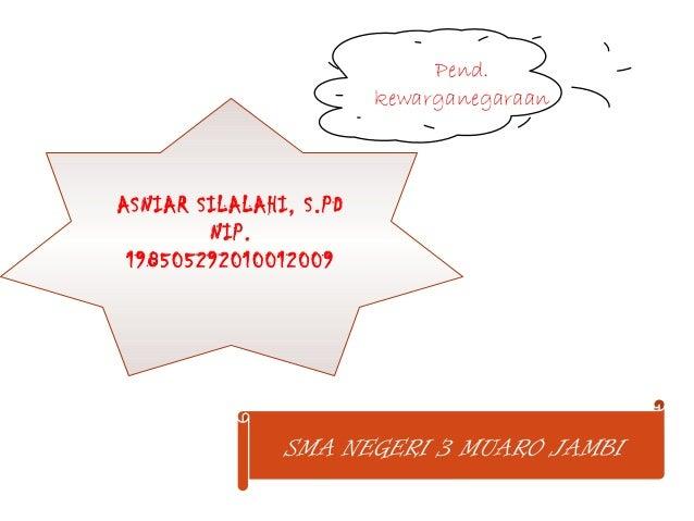 Pend. kewarganegaraan ASNIAR SILALAHI, S.PD NIP. 198505292010012009 SMA NEGERI 3 MUARO JAMBI