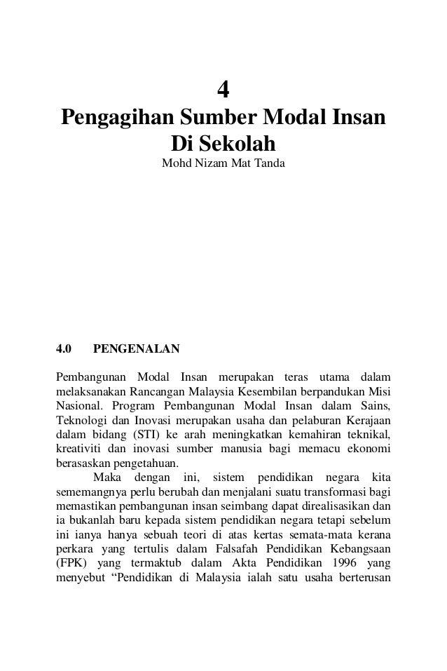 4  Pengagihan Sumber Modal Insan  Di Sekolah  Mohd Nizam Mat Tanda  4.0 PENGENALAN  Pembangunan Modal Insan merupakan tera...