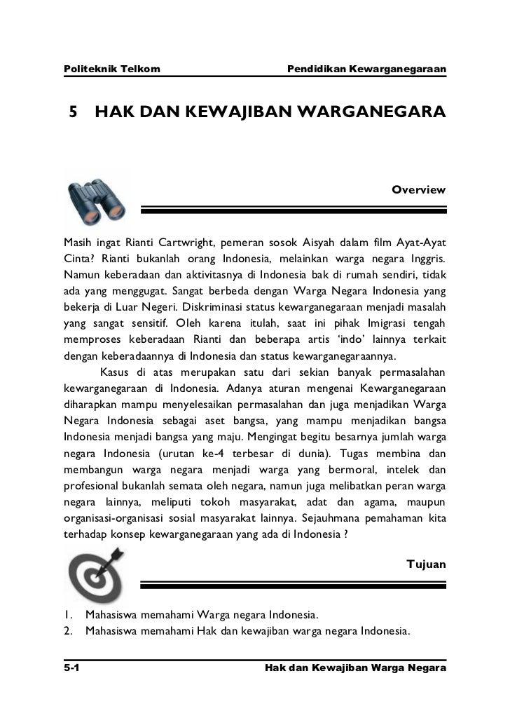 Politeknik Telkom                          Pendidikan Kewarganegaraan 5 HAK DAN KEWAJIBAN WARGANEGARA                     ...